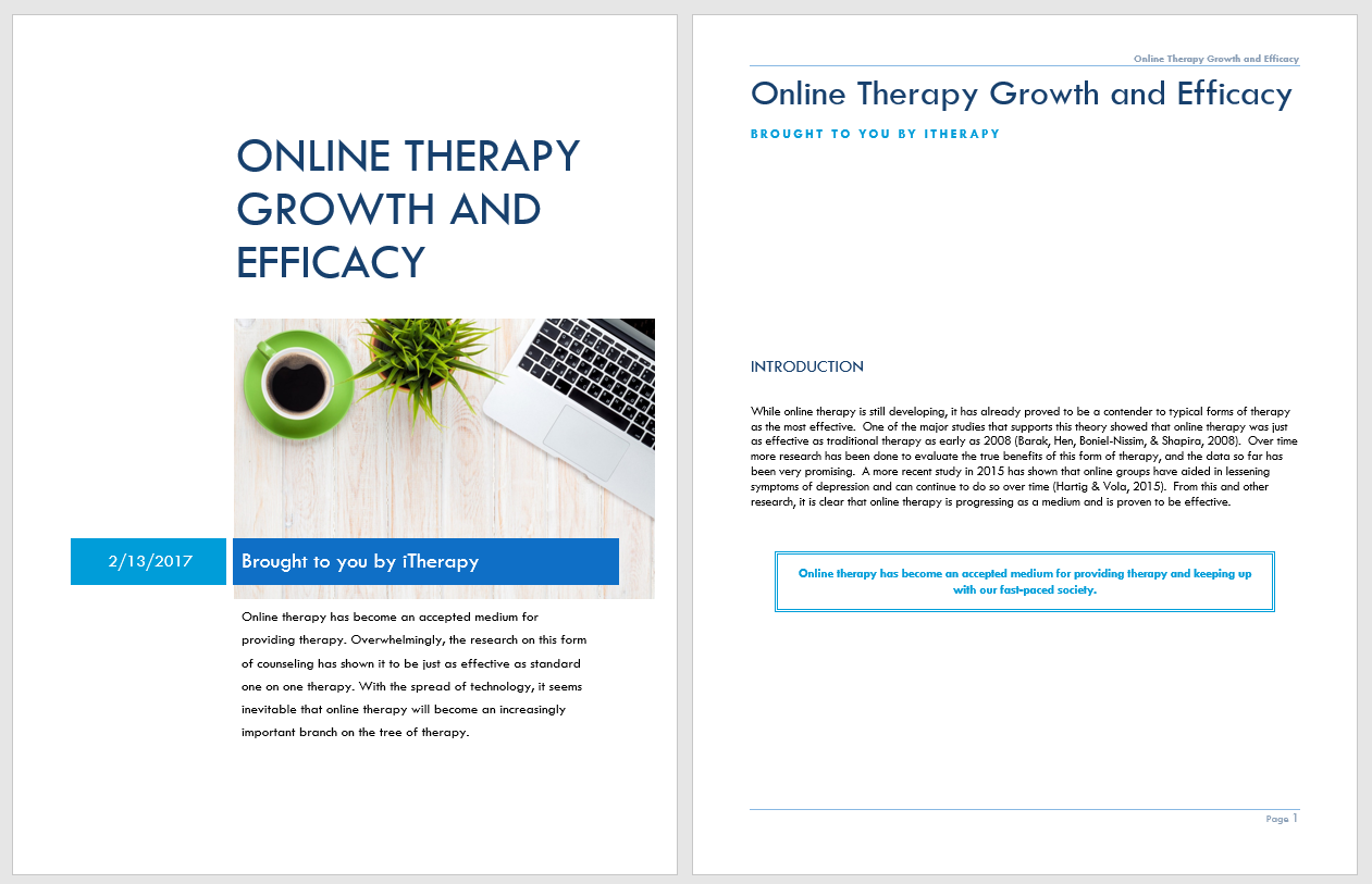 Online Therapy Growth and Efficacy White Paper | Counseling Private Practice, Start Your Counseling Private Practice